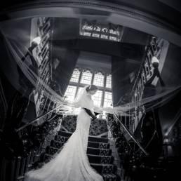 Cabra Castle staircase wedding photography