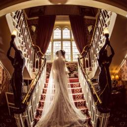 Cabra castle bride staircase photography