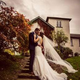 Corick House wedding photography against house