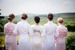 Bride and bridesmaids prior to wedding